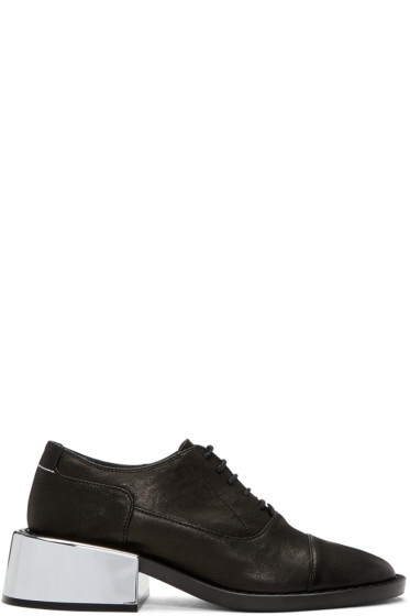 MM6 Maison Margiela - Black Metallic Heel Oxfords
