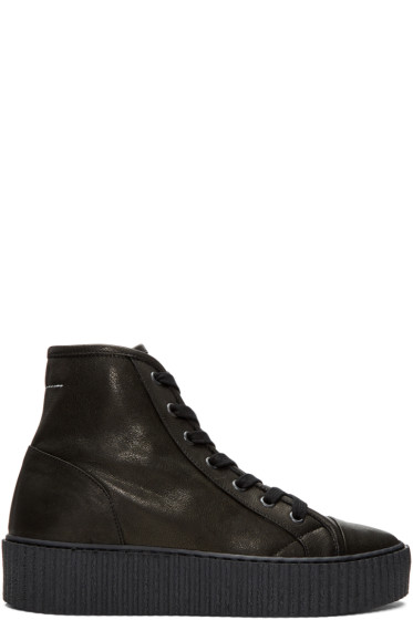 MM6 Maison Margiela - Black Sheepskin High-Top Sneakers