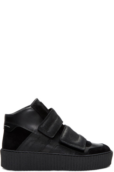 MM6 Maison Margiela - Black Platform High-Top Sneakers