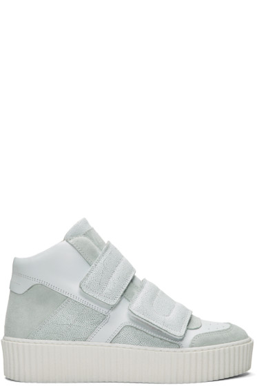 MM6 Maison Margiela - White Platform High-Top Sneakers