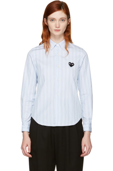 Comme des Garçons Play - Blue Striped Heart Patch Shirt