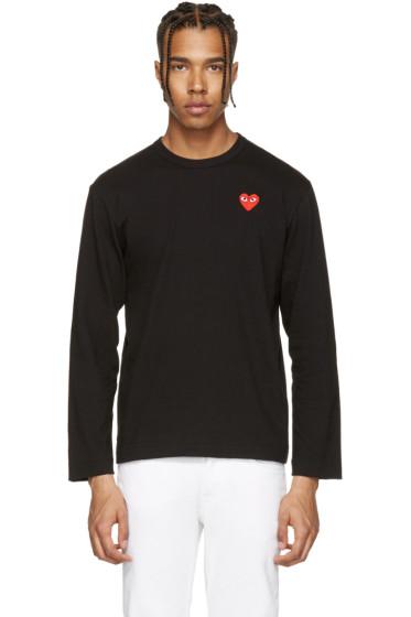 Comme des Garçons Play - Black Long Sleeve Heart Patch T-Shirt