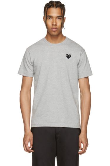Comme des Garçons Play - Grey & Black Heart Patch T-Shirt