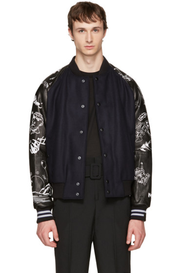 Lanvin - Navy & Black Arrow Skeleton Bomber Jacket