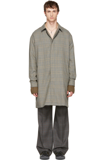 Lanvin - Grey Wool Glen Check Coat