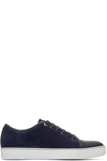 Lanvin - Navy Suede Cap Toe Sneakers