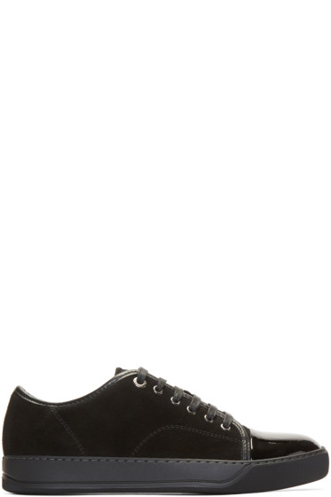 Lanvin - Black Suede Cap Toe Sneakers