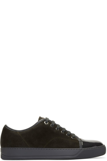 Lanvin - Brown & Grey Suede Cap Toe Sneakers