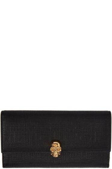 Alexander McQueen - Black Lino Skull Continental Flap Wallet