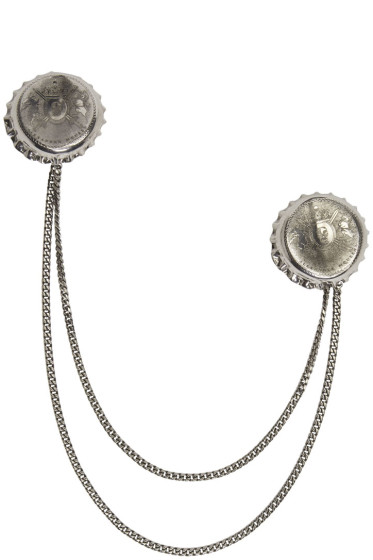 Alexander McQueen - Silver Double Cap Brooch
