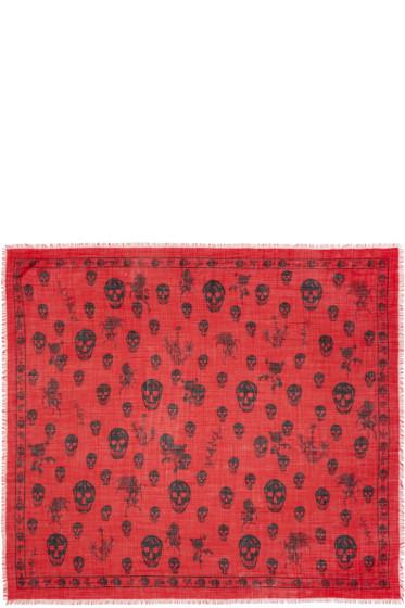 Alexander McQueen - Red Romantic Weeds & Skull Pashmina Scarf
