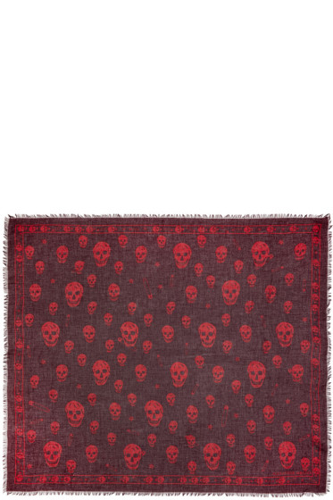 Alexander McQueen - Burgundy F O Punk Skull Scarf