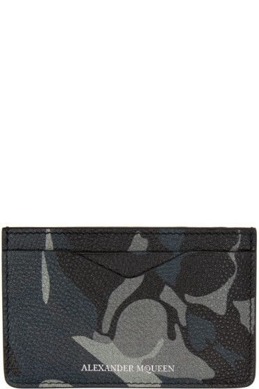 Alexander McQueen - Black & Blue Camo Card Holder