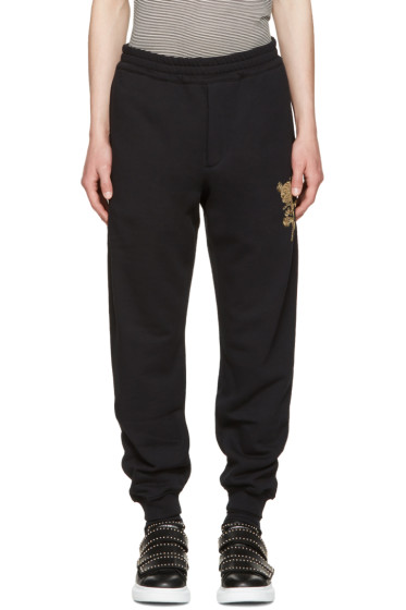 Alexander McQueen - Black Beaded Floral Classic Lounge Pants