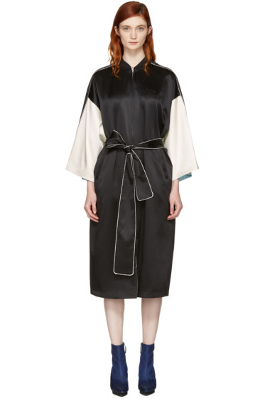 Opening Ceremony - Reversible Black Silk Kimono Robe Coat