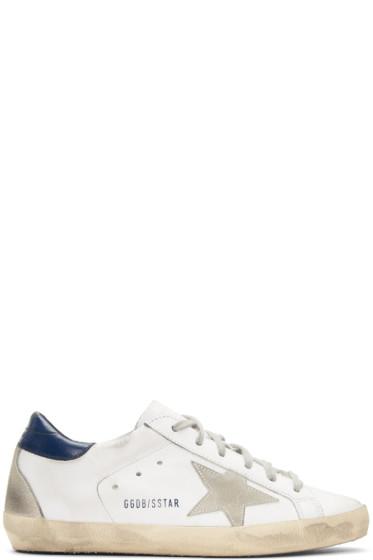 Golden Goose - White & Navy Superstar Sneakers