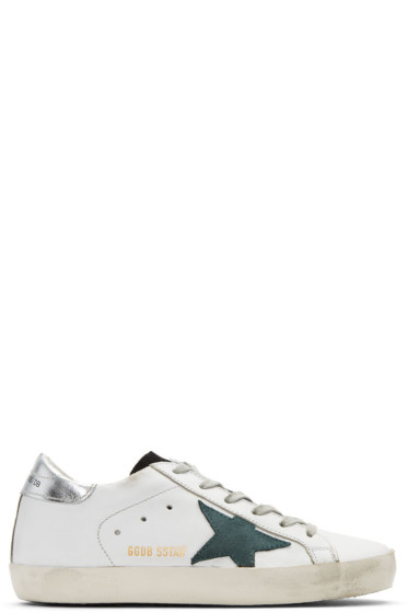 Golden Goose - White & Green Superstar Sneakers