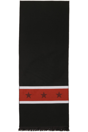 Givenchy - Black & Red 'Stars in Stripes' Scarf