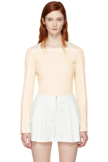 3.1 Phillip Lim - White Ribbed Pearl T-Shirt
