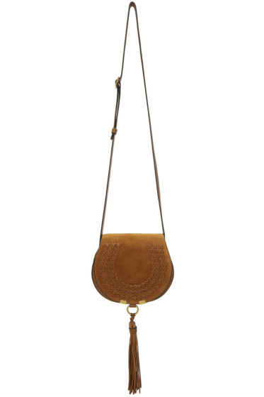 Chloé - Tan Suede Small Marcie Saddle Bag