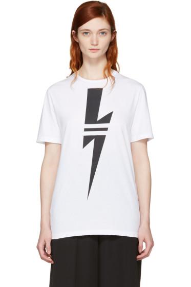 Neil Barrett - White Double Stripe Thunderbolt T-Shirt