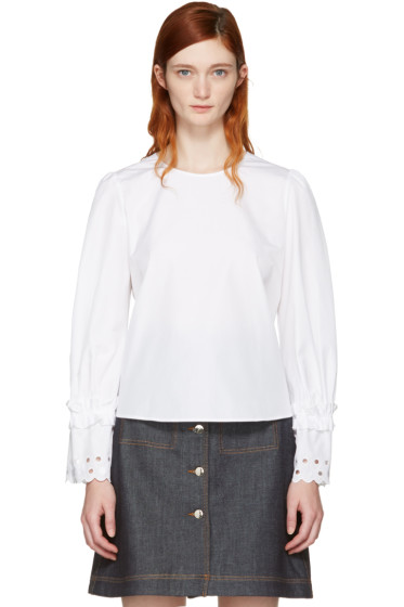See by Chloé - White Eyelet Sleeve Blouse