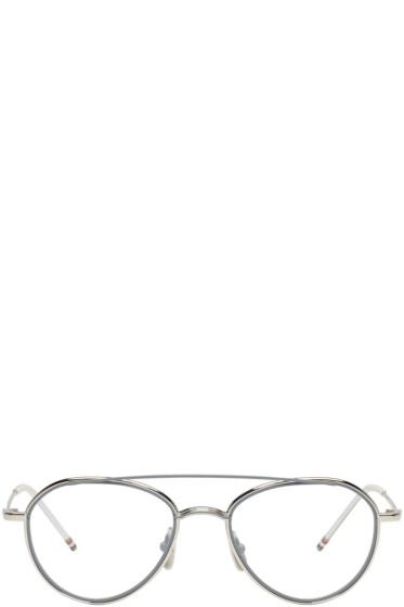 Thom Browne - Silver TB 109 Aviator Glasses