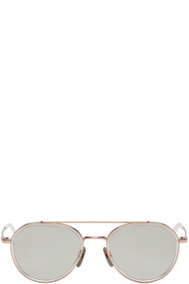 Thom Browne - Rose Gold TB 801 Aviator Sunglasses