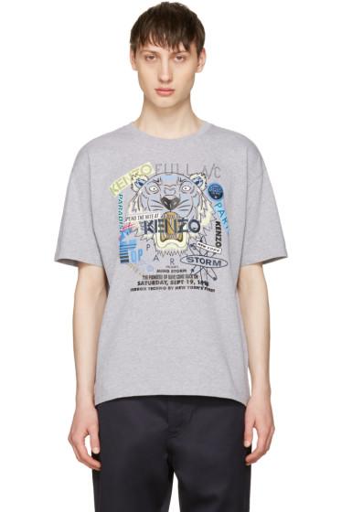 Kenzo - Grey 'Flyer x Tiger' T-Shirt