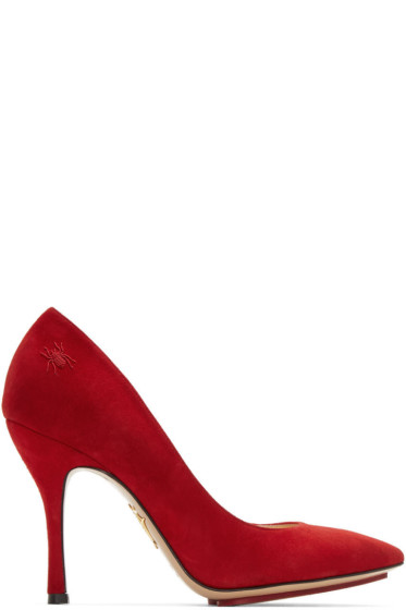 Charlotte Olympia - Red Suede Bacall Heels