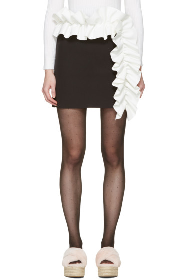 MSGM - Black Contrast Ruffle Miniskirt