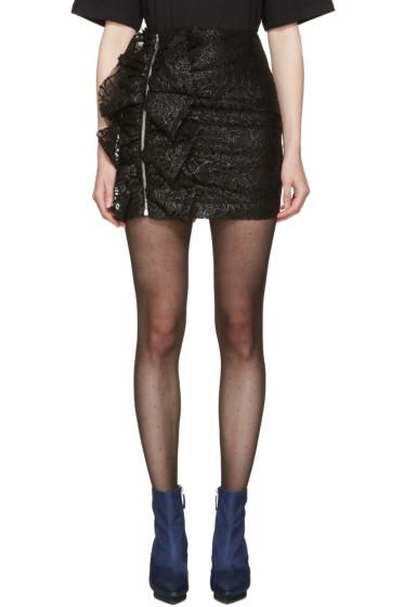 MSGM - Black Lace Ruffle Miniskirt