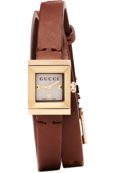 Gucci - Gold & Brown Square Double Wrap Watch