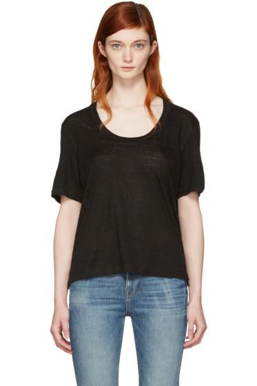 Frame Denim - Black Linen U-Neck T-Shirt