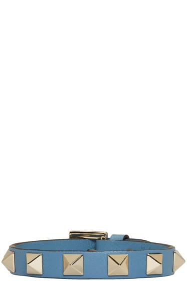 Valentino - Blue Leather Single Rockstud Bracelet