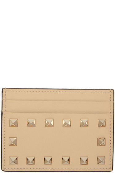 Valentino - Beige Rockstud Card Holder