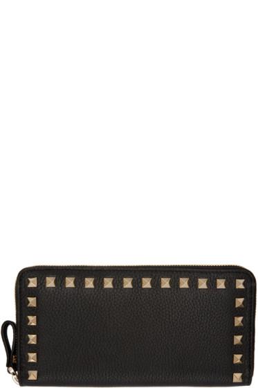 Valentino - Black Rockstud Continental Zip Wallet