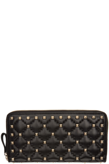 Valentino - Black Rockstud Spike Continental Zip Wallet