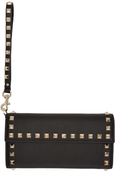 Valentino - Black Rockstud Flap Wallet