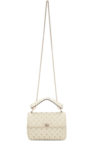 Valentino - Ivory Medium Rockstud Spike Chain Bag