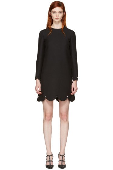 Valentino - Black Scallop Rockstud Dress