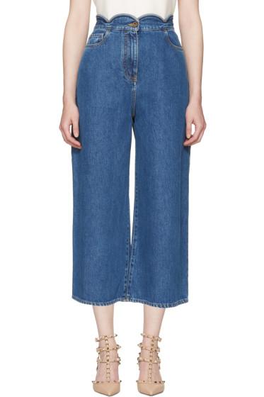 Valentino - Blue Wide-Leg Scallop Waist Jeans