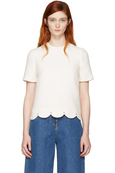 Valentino - Ivory Scallop Rockstud Blouse