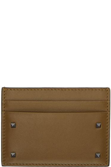 Valentino - Brown Small Rockstud Card Holder
