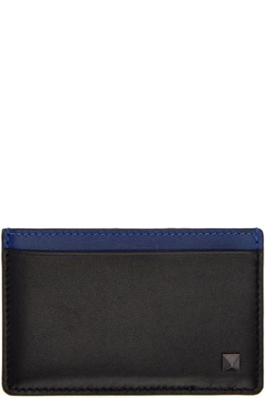 Valentino - Black & Blue Rockstud Card Holder