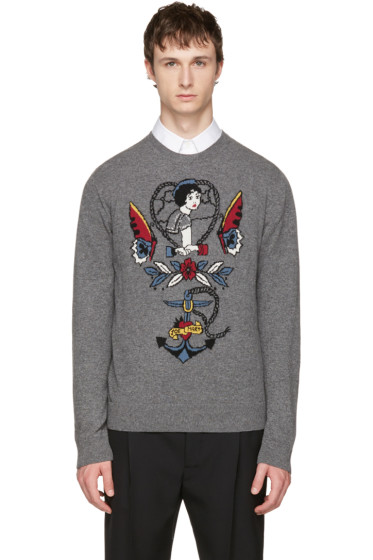 Valentino - Grey Daisy Tattoo Sweater