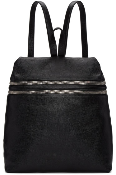 Kara - Black Large Double Zip Leather Backpack