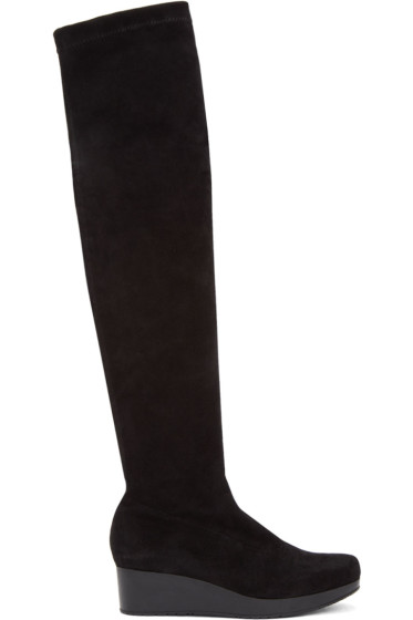Robert Clergerie - Black Suede Natu Over-the-Knee Boots