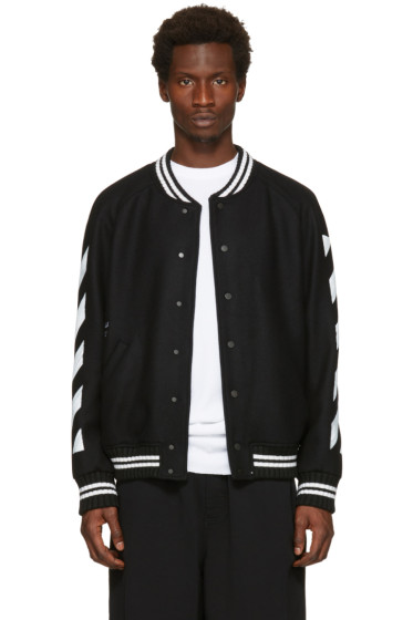 Off-White - Black Diagonal Brushed Varsity Jacket