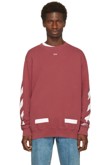 Off-White - Red Diagonal Arrows Crewneck Sweatshirt